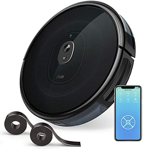 dser Robot Vacuum Cleaner, 1600Pa Strong Suction, Wi-Fi Connected, 2 Boundary Strips, Cleans for Carpets and Pet Hair, Compatible with Alexa RoboGeek 21T