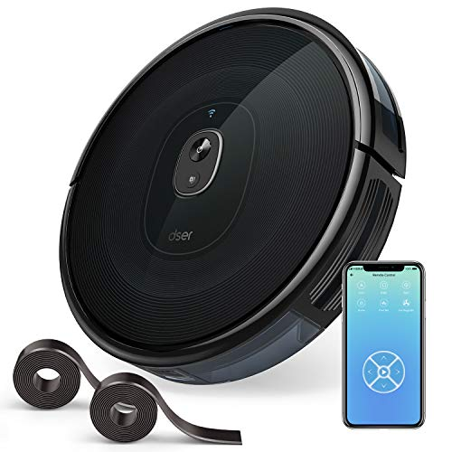 dser RoboGeek 21T, Upgraded WiFi Robot Vacuum Cleaner, 1600Pa Suction, Super Quiet, 2 Boundary Strips, Self-Charging Robotic Vacuums for Carpet and Pet Hair Cleaning, Works with Alexa