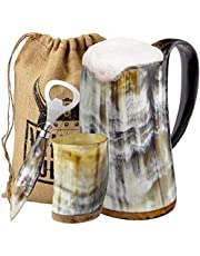 Viking Culture Ox Horn Mug, Shot Glass, and Bottle Opener (3 Pc. Set) Authentic 16-oz. Ale, Mead, and Beer Tankard | Vintage Stein with Handle - Polished Finish | Without Design