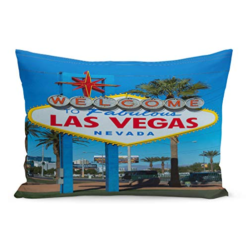 Semtomn Throw Pillow Covers Las Vegas Nevada USA November 18 Welcome to Fabulous Sign Designed by Betty Willis 5200 BLVD Nv 89119 Pillow Case Lumbar Pillowcase for Couch Sofa 20 x 36 inchs