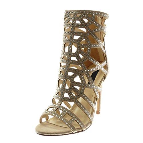 Mode Aiguille Stiletto Haut Ouverte 11 cm Beige Femme Sandale Chaussure Bottine Diamant Angkorly Strass Talon qxwBUg5