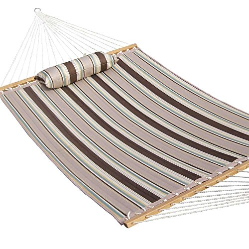 Prime Garden Quilted Double Fabric Hammock, Hardwood Spreader Bars with Pillow,Outdoor Polyester by Prime Garden