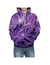 Jiayiqi Men's Stylish 3D Print Pocket Hoodies Sweatshirts