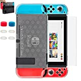 BRHE Dockable Nintendo Switch Case, New Design [9 in 1] Protection Kit Premium Crystal Clear Cover Case Shell Dock Friendly for Nintendo Switch Joy-Con Controller Accessories with 6 Thumb Grips Caps Review