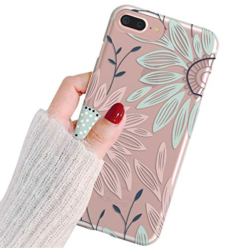 Daisy Flower Rubber - iPhone 7 Case,iPhone 8 Case,TRFAEE Awesome Daisy Flower Printing Transparent Slim Clear Soft TPU Bumper Anti-Scratch Shock Absorption Protective Anti-Slip Case Cover for iPhone 7/8 4.7 Inch