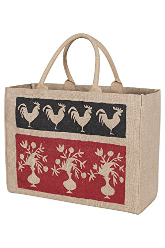 KAF Home Jute Market Tote Bag with French Market Print, Durable Handle, Reinforced Bottom and Interior Zipper Pocket, Generous capacity, 12.5