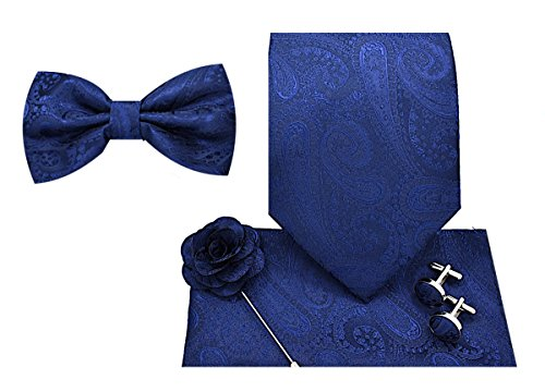 5pc Necktie Gift Box -Paisley-Navy Blue-