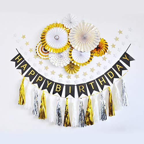 Hollosport Gold Happy Birthday Decorations with Black Birthday Banner, Gold Party Decorations with Paper Flower Fans, Tissue Tassels,Glitter Star String Banners, Accessories Packed (Birthday)