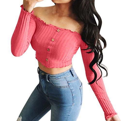 YANG-YI Spring Fashion Womens Solid Strapless Off Shoulder Short Tops Blouse Casual Shirt (Watermelon Red, M)