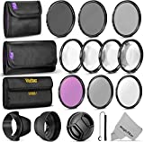 58MM Complete Lens Filter Accessory Kit (UV, CPL, FLD, ND2, ND4, ND8 and Macro Lens Set) for Canon EOS Rebel T7i SL2 T6i T6s T6 T5i T5 T3i 80D 77D 70D 60D Cameras