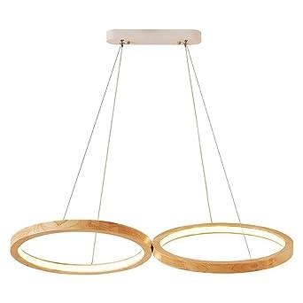 Lámparas de techo redondas, Nordic Doble Madera Círculo De ...