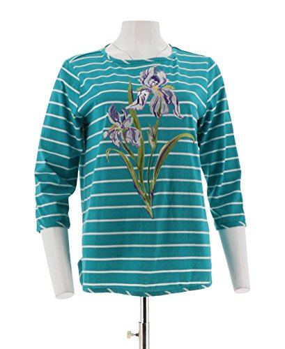 Bob Mackie Floral Embroidered Striped Knit Top A273597, Teal, (Bob Mackie Embroidered Blouse)