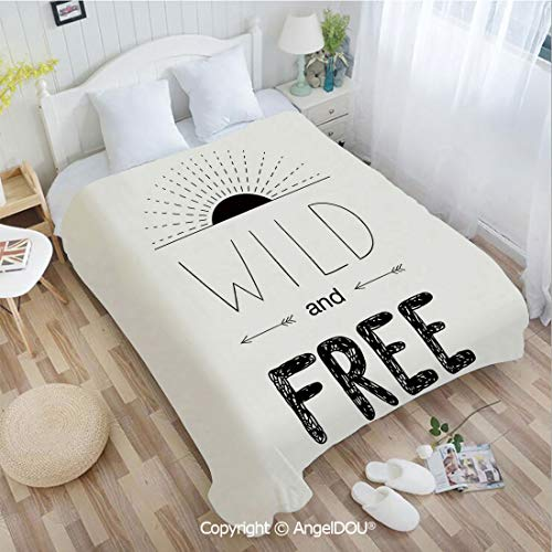 AngelDOU Printed Blanket Soft Quilt Bed Throws Abstract Hand Drawn Rising Sun Figure Arrows Wild Free Forest Sketch Art Design Bed Cover Air Condition Blankets 59