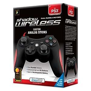 dreamGEAR Shadow Wireless Controller - Volante/mando (Mando de juegos, Playstation 3, D-pad, Inalámbrico, Negro, Rojo)