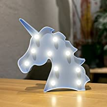 Erxvxp Decorative Marquee Signs Unicorn LED Lights Night Light Battery Operated Christmas Party Wall Decoration (Blue)