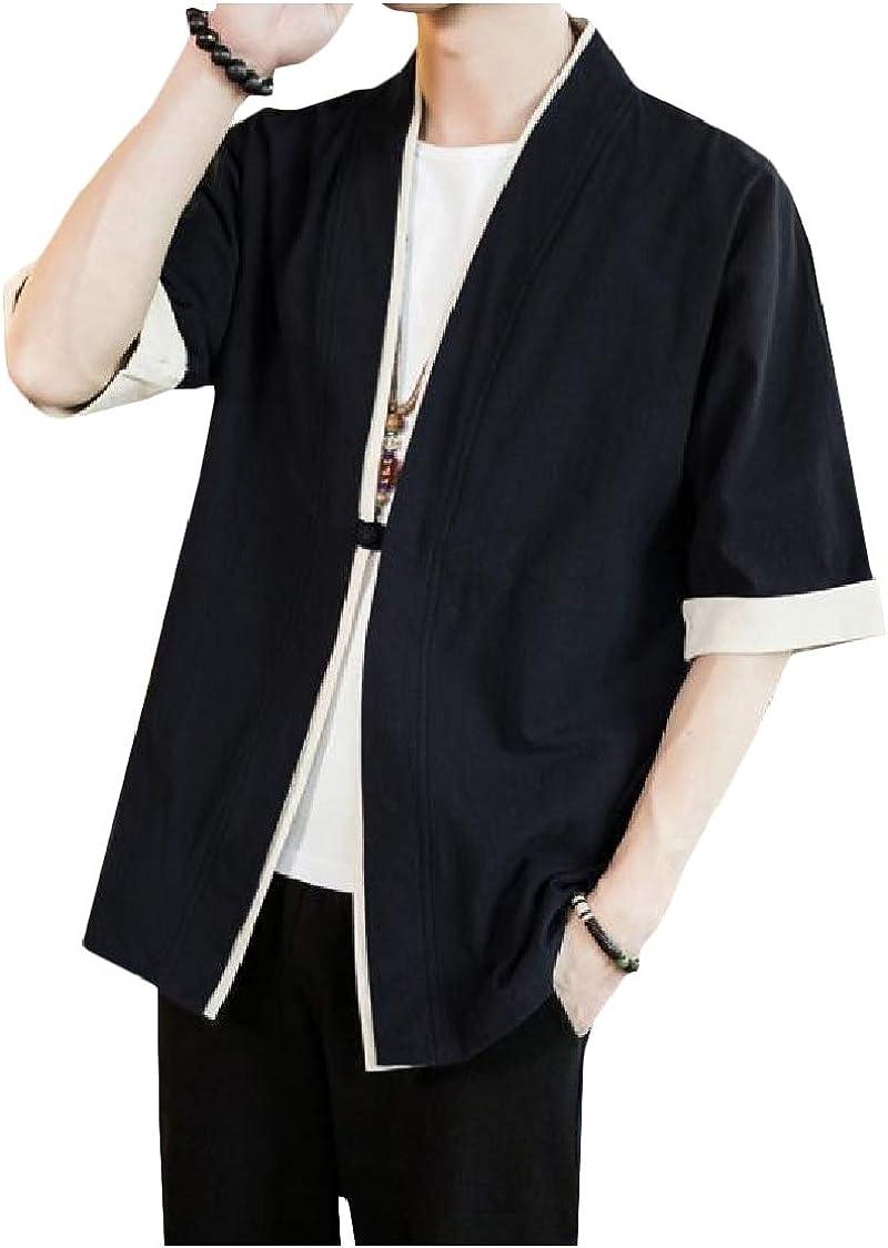 Fieer Mens Half Sleeve Silm Fit Kimono Casual Cardigan Cardi Work Shirt