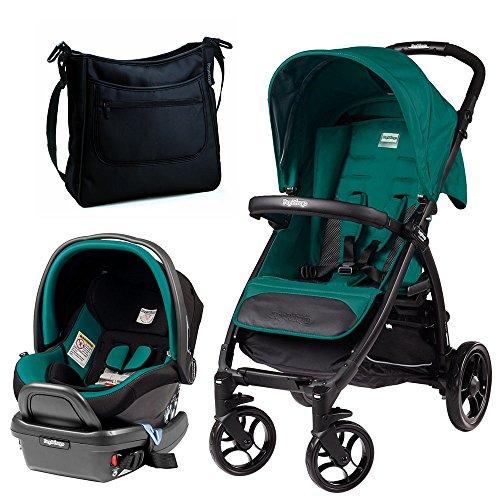 [Peg Perego Booklet w Primo Viaggio 4/35 Infant Car Seat, Aquamarine & Borsa Diaper Bag (Onyx)] (Aqua Onyx)