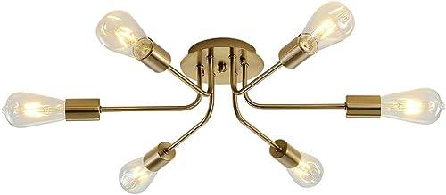 Xilicon 6 Lights Sputnik Chandelier Brushed Brass Semi Flush Mount Ceiling Light Modern Pendant Light for Kitchen Bathroom Dining Room Bed Room Hallway