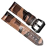 GreenOlive 24mm Camouflage Genuine Leather Watch Strap Band for Panerai Omega Rolex Breitling Sevenfriday