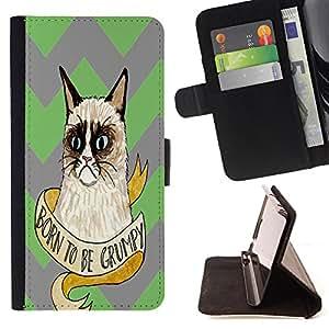 King Case - FOR Apple Iphone 5C - Born to be grumpy - Prima caja de la PU billetera de cuero con ranuras para tarjetas, efectivo Compartimiento desmontable y correa para la mu?eca