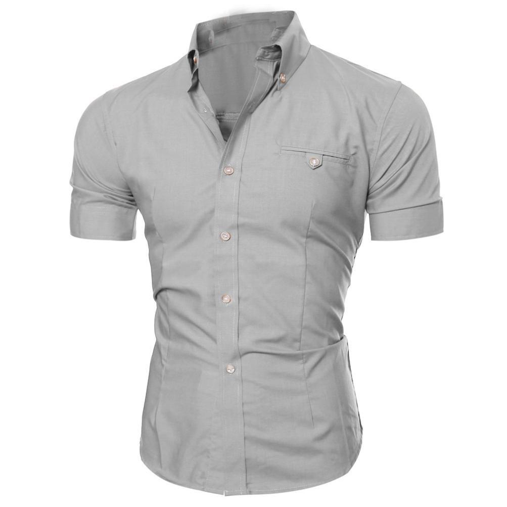 Kword Uomo Camicia Maglietta Uomo Camicetta A Maniche Corte con Scollo T-Shirt Manica Corta con Bottone da Uomo Slim Fit KwordU0528