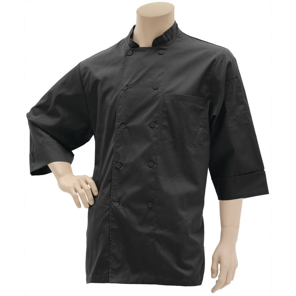 HUBERT Black Poly Cotton 3/4 Sleeve Chef Coat - Large