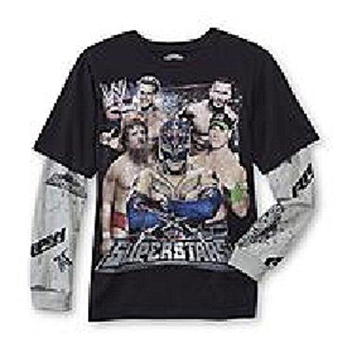 WWE Wrestling Big Boys Xs Superstars Long Sleeve 2 Tone Shirt