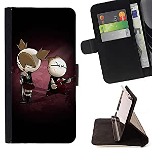Cute Punk Couple - Painting Art Smile Face Style Design PU Leather Flip Stand Case Cover FOR LG G2 D800 @ The Smurfs
