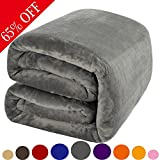 Shilucheng Luxury Fleece Blanket by Super Soft and Warm Fuzzy Plush Lightweight Queen Couch Bed Blankets - Grey