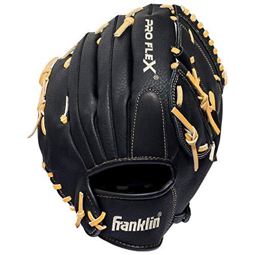 Franklin Sports Pro Flex Hybrid Series Baseball Fielding Glove, Right Hand Throw, 12-Inch, Black/Camel (Renewed)