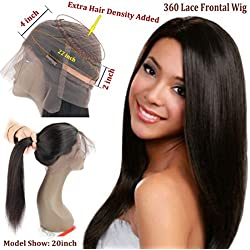 360 Lace Front Wig Peruvian Virgin Human Hair Straight Wigs 130% Density Pre-Plucked Hairline Natural Color 360 Lace Wigs with Baby Hair (20inch)…