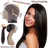 360 Frontal Lace Wig Straight 360 Lace Front Human Hair Wigs Peruvian Virgin 360 Lace Frontal Wig 130% Density with Pre Plucked Natural Hairline Baby Hair 360 Degree Lace Human Hair Wig (20inch)