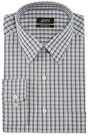 16 x 32-33 Alfani Mens Dobby Check Dress Shirt Gray