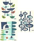 Swedish Dishcloths, Jenn Ski's Mid-Century Modern Designs - Set of 3 - Navy Blue