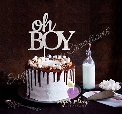 Oh Boy Cake Topper Silver Glitter