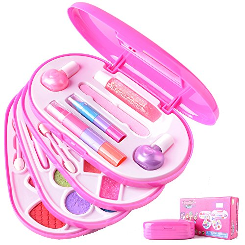 (Ange-la COLORS PRINCESS Perfect Girls Real Make up Set Dress up Cosmetics Makeup Kit for Pretend Play, Daily Use Water-soluble Formula Safe for Children Skin CE Approved)