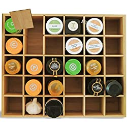 Multikeep Adjustable Shelf Bamboo - Use as Spice Rack, Memento Shelf or Drawer Organizer for Wall, Counter or Cabinet - by Cookbook People