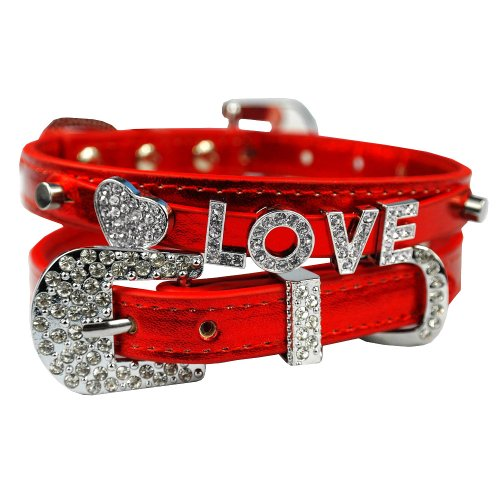 Didog Christmas Personalized Metallic PU Leather Dog Puppy Collars Necklace with Diamante Rhinestone Free Name&Charms
