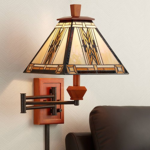 (Walnut Mission Collection Plug-in Swing Arm Wall Lamp - Robert Louis Tiffany)