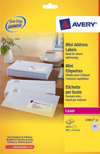 Printer Laser 1625 - Avery Dennison Mini Labels Laser 65 per Sheet 38.1x21.2mm White Ref L7651-25 [1625 Labels]