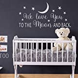 BATTOO We Love You To The Moon And Back Wall Decal - Nursery Wall Decal - Moon And Stars Nursery Decals - Children Wall Decor - Wall Decals Nursery(white, 30''WX15''H)