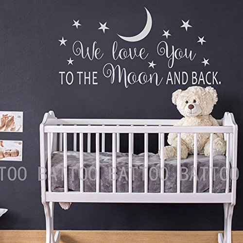 BATTOO We Love You To The Moon And Back Wall Decal - Nursery Wall Decal - Moon And Stars Nursery Decals - Children Wall Decor - Wall Decals Nursery(white, 22