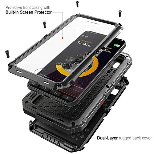 iPhone X Waterproof Case, CarterLily Underwater Full Body Heavy Duty with Built-in Screen Snowproof Shockproof Dropproof Tough Rugged Hybrid Hard Military Cover for Apple iPhone X 5.8 (Black)