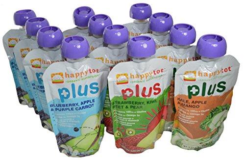 Superalimentos orgánicos feliz Tot más variedad de comida de bebé etapa 4 (Pack de 12)