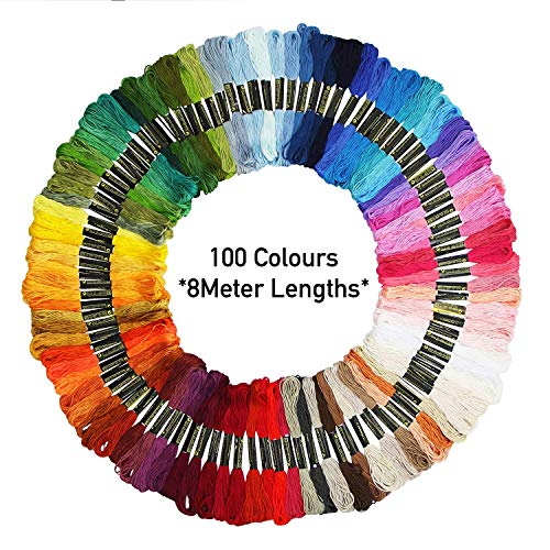 Premium Embroidery Thread 100 Unique Colours Thick Threads, Bracelets, Friendship Bracelets Kit – with Free Needle Threader