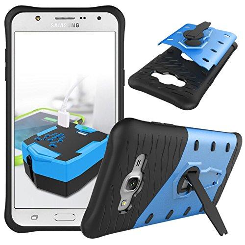 YHUISEN Galaxy J7 2015 Case, Hybrid Tough Rugged Dual Layer Rüstung Schild Schützende Shockproof mit 360 Grad Einstellung Kickstand Case Cover für Samsung Galaxy J7 2015 ( Color : Biue )