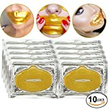 Beauty Anti Aging Treatments Set / Kit of 10pcs Lips / Mouth 24 K Gold / Golden Collagen Gel Crystal Masks / Patches / Sheets for Fine Lines and Wrinkles Removal, Moisturizing / Hydration, Skin Firming and Nourishing