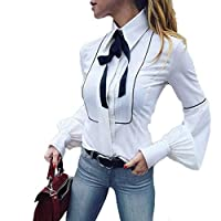 2018 Women Long Lantern Sleeve Blouse Office Work White Basic Buttons Bow Tie Top by TOPUNDER