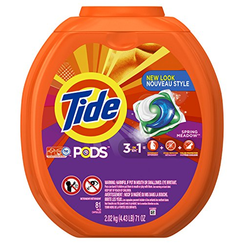 Procter Gamble Laundry Detergent - Tide PODS 3 in 1 HE Turbo Laundry Detergent Pacs, Spring Meadow Scent, 81 Count Tub - Packaging May Vary