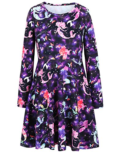 [Jxstar Girls Dress Sweet Dress Starry Mermaid Print Long Sleeve tshirt Dress Starry Mermaid 130] (Mermaid Dress For Girl)